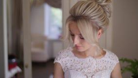 4K Portrait of bride waiting for her groom stock video