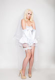 Beautiful blond bride wearing white dress with professional make-up and hairstyle Stock Photos