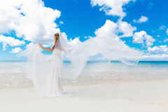 Beautiful blond bride in white wedding dress with big long white Stock Photography