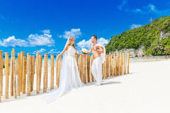 Beautiful blond bride in white wedding dress with big long white Stock Photo