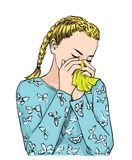 Beautiful blond bunches haired girl sneezing blowing nose on tissue because of spring allergy or crying Vector sketch. Beautiful blond bunches haired girl Stock Image