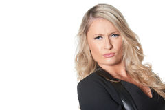 Beautiful blond busines woman giving disapproving look, isolated Royalty Free Stock Photography