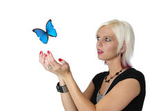 Beautiful blond and butterfly Stock Photography