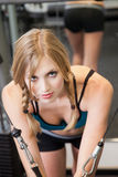 Beautiful blond caucasian woman exercising Stock Image
