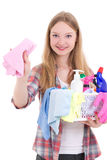 Beautiful blond with cleaning equipment isolated on white backgr Stock Photo