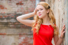 Beautiful blond with curly hair Stock Photos