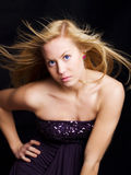Beautiful blond dancing girl Stock Photos