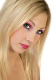 Beautiful Blond With Dramatic makeup Stock Photo