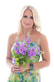 Beautiful blond in dress with summer flowers isolated on white Royalty Free Stock Photo