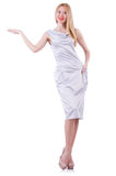 Beautiful blond in elegant dress isolated on white Royalty Free Stock Photography