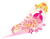 Beautiful blond fairy portrait. Vector cartoon illustration of a fairy girl potrait with flowers flying with magic stick Stock Image