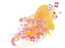 Beautiful blond fairy portrait. Vector cartoon illustration of a fairy woman potrait with flowers and butterflies flying near her face and hair Stock Photos