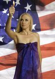 Beautiful blond with flag Stock Photo
