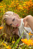 Beautiful blond in flower field Stock Photography