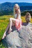 Beautiful blond in flower field Stock Image