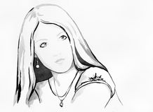 Beautiful blond girl. Ink drawing of a beautiful blond girl Stock Image