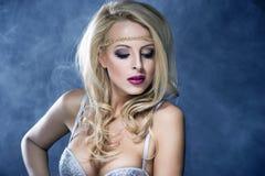 Beautiful Blond Girl. Beautiful Sexy Blond Girl. Long Hair. Holiday Makeup Stock Photography