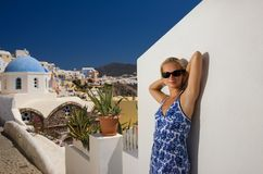 Beautiful blond girl. On Santorini Island (Greece Royalty Free Stock Images