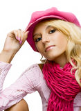 Beautiful blond girl in a cap Royalty Free Stock Photos