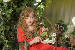 Beautiful blond girl with curly hair Royalty Free Stock Photos