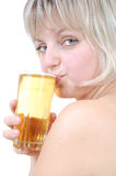 Beautiful blond girl drinking beer Stock Photography
