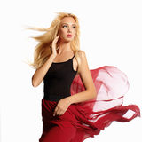Beautiful blond girl in dynamics Royalty Free Stock Images