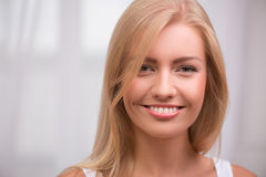 Beautiful blond girl expresses different emotions Royalty Free Stock Image
