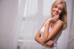 Beautiful blond girl expresses different emotions Stock Photos