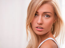 Beautiful blond girl expresses different emotions Royalty Free Stock Photos