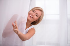 Beautiful blond girl expresses different emotions Royalty Free Stock Photo