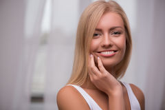 Beautiful blond girl expresses different emotions Stock Photo
