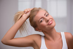 Beautiful blond girl expresses different emotions Stock Images