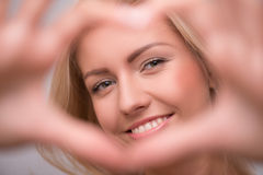 Beautiful blond girl expresses different emotions Stock Photography