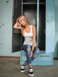 Beautiful blond girl expresses different emotions Royalty Free Stock Images