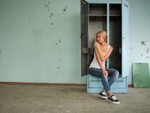 Beautiful blond girl expresses different emotions Royalty Free Stock Photography