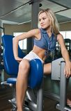 Beautiful blond girl at the gym Stock Photography