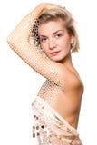 Beautiful blond girl with half mosaic body Royalty Free Stock Photo