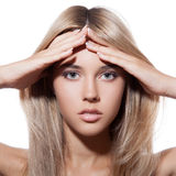 Beautiful Blond Girl. Healthy Long Hair. Stock Photo