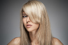Beautiful Blond Girl. Healthy Long Hair. Royalty Free Stock Image