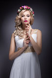 Beautiful blond girl in the image of a bride with flowers in her hair. Beauty face Stock Photography