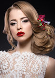Beautiful blond girl  in image of the bride with Royalty Free Stock Photography
