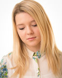 Beautiful Blond Girl Looking Down Royalty Free Stock Images