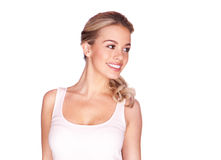 Beautiful blond girl with a lovely smile royalty free stock photos
