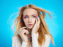 Beautiful blond girl with make-up Royalty Free Stock Photo