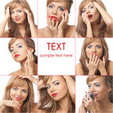 Beautiful blond girl with makeup collage stock photo