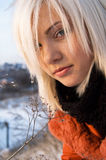 Beautiful blond girl outdoors Royalty Free Stock Photos