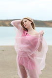 Beautiful blond girl in pink Stock Photo