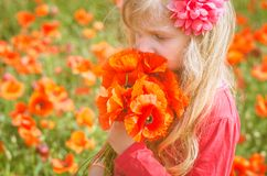 Beautiful blond girl smelling poppies Royalty Free Stock Photos