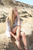 Beautiful blond girl in the summer day Stock Image