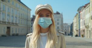 Free Beautiful Blond Girl Wearing Medical Mask During Coronavirus COVID-19 Epidemic Pandemic Covid-19 Coronavirus Protection. Royalty Free Stock Photography - 176662647